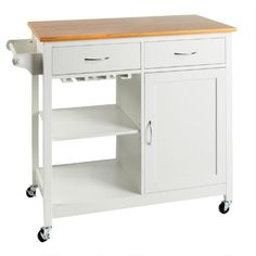 One of my favorite discoveries at ChristmasTreeShops.com: White Rolling Kitchen Island with Wine Rack