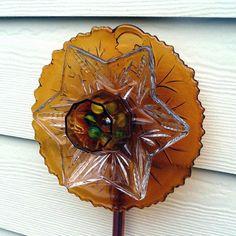 Garden art glass flower suncatcher plant stake yard by RecycleRoom, $34.00