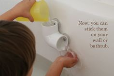 Make your own bath toys with cheap hardware store parts. This would work great for marbles or bells too and your child could listen to them fall through the pipes. Visit pinterest.com/wonderbabyorg for more accessible toy ideas!