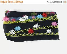 SALE 20% Turkish Oya scarf - Black Floral - Crochet Flower Edges - Womens Square Headscarf - Turban Headwrap