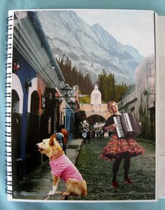 Town Accordionist collage journal page 1