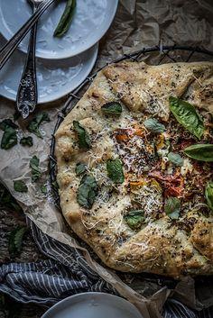 heirloom tomato galette with lemon balm almond pesto & chevre