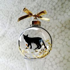 Cat Silhouette Ornament Globe by silhouettesbylena on Etsy