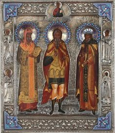 Russian icon of three Saints in elaborate garments with a silver and enamel riza,c 1903. Patriarch Athanasios, Martyr Arefo and righteous Tsar Erezvon. Makers mark by Shelaputin. Includes four border saints: Guardian Angel, Gregory Bogoslov, Monk Evtichii and Marta.  #Russia #saint #icon #silver #enamel #painting #interior #design #frame #fine #detail #collector #love #king #London