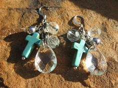 Crystal drop turquoise cross earrings by fleurdesignz on Etsy, $12.00  Please visit my shop on Etsy!