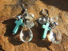 Crystal drop turquoise cross earrings by fleurdesignz on Etsy, $14.00