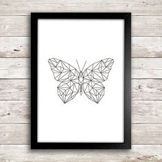 Poster Geometric Butterfly - New Year Pic's Geometric Nail Art, Geometric Painting, Geometric Flower, Geometric Lines, Butterfly Illustration, Butterfly Drawing, Illustration Art, Poster Home, Line Art Tattoos