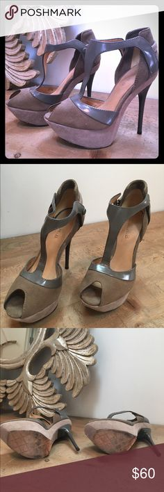 Lamb peep toe stilettos Worn a handful of times these Suede and patent leather stilettos are in great condition. A great fall staple! L.A.M.B. Shoes Heels