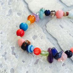 Stretch bracelet with 22 different gemstones Stone by DRISAIN