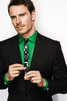 Michael Fassbender...love the pop of that green!