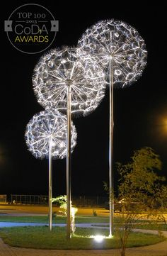 Motive of the project were dandelions which are present in the nature but are made of acid resistant stainless steel electropolished. My modern form but also relate to nature.