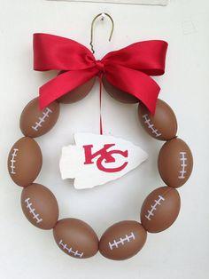 Kansas City Chiefs Burlap Football Wreath by NTgoodthings on Etsy, $36.00