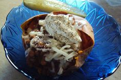 Chili Stuffed Yams  Join us here for more great recipes, weight loss support, tips, and more at: ----> https://www.facebook.com/groups/AngiesHealthyHabits/  http://angielkay.eatlessfeelfull.com/