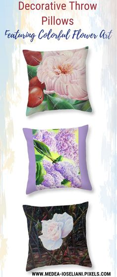Decorative Throw Pillows - Featuring Colorful Flower Art. Art for home decor on budget. When it comes to decorating your home, we are sure that you have a lot of concepts in mind but when it comes to down to making the actual choice, you may find it difficult to take the decision - and Art is Always an Answer. Best home decor and gift ideas for art lovers. #decoridea #medeaart #fantasyart #artprint #colorful #walldecor #colorfulart #fineart #fineartprint #art