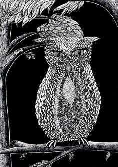 Owl illustration black and white pen illustration A5 by liatib