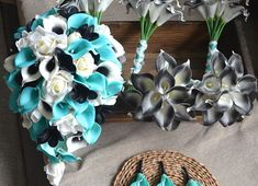 Turquoise Black Wedding Bouquets Real Touch Callas Lilies