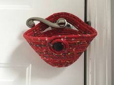 Hanging Door Organizer Door Knob Organizer Coiled Rope Clothesline Basket Back Door Catch All Modern Red Wallet or Key Holder Home Decor by SallyManke on Etsy