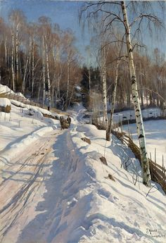 .:.  Peder Mørk Mønsted (Danish, 1859-1941) Sleigh ride on a sunny winter day (1919) Private Collection.