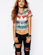 Adidas Originals X Farm Feather Cropped T-Shirt