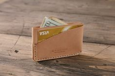GRAMS28 / Three Pockets Leather CARD HOLDER, hand stitched leather wallet - Natural on Etsy, ฿1,307.19