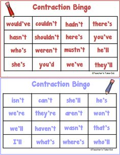 Free Contraction Bingo Game for 2 players. A little reading center to practice recognizing contractions.