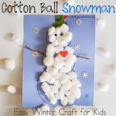 After enjoying aWinter Sensory Bin it was time to figure out a way to use all our cotton balls, so while we watched the snow fall outside we made a snowman inside from the warmth and comfort of our home. The snowmen are easy to make (I even have a free snowman template to use …