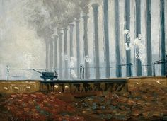All sizes | Gorson - Smoke Stacks at Steel Mill, via Flickr.  ( Pittsburgh Steel Mill Scene - Oil on Panel - by Aaron Gorson )