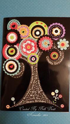 Tree Doodle Card, Stamps of Life flower dies.