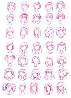 how to draw chibi hair Various Female Anime+Manga