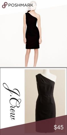 J. Crew One-Shoulder Dress in Black Excellent condition. Size 6 black dress 31313bc3a