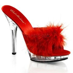 Fabulicious Shoes Pleaser Fabulicious Shoes Lip-101-8 Red Marabou Dangerously sexy mules with red toe strap, tone-to-tone red marabou decoration, and matching soft cushioning for a chic look and a comfortable feel. The clear 0.75 inch (2 cm) front platform lifts the http://www.MightGet.com/january-2017-12/fabulicious-shoes-pleaser-fabulicious-shoes-lip-101-8-red-marabou.asp