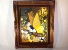 Vintage Abstract Mid-Century Palette Oil Painting Of Butterfly with Wood Frame
