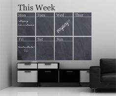 Chalkboard Weekly Calendar Vinyl Wall Decal Sticker                                                                                                                                                                                 Más