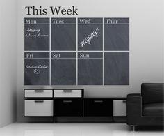 Chalkboard Weekly Calendar Vinyl Wall Decal Sticker