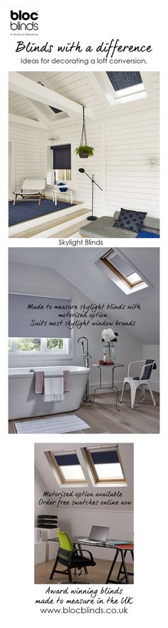 Bloc Blinds make made to measure sky light window blinds for a wide range of roof light window brands. Opt for motorised skylight blinds for added ease of use. Attic Apartment, Attic Rooms, Attic Spaces, Small Spaces, Apartment Ideas, Attic Playroom, Attic Library, Attic Office, Attic Bathroom