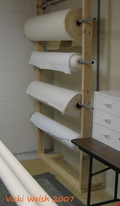 quilting studio storage | Isn't the duct tape border around the carpet nice? That was my own ...