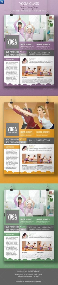 Yoga Class Flyer Template — Photoshop PSD #health #studio • Available here → https://graphicriver.net/item/yoga-class-flyer-template/7244513?ref=pxcr