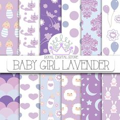 """Baby girl digital paper:""""BABY GIRL LAVENDER"""" with baby girl scrapbook paper, baby girl pattern, lavender baby shower for scrapbooking, cards"""