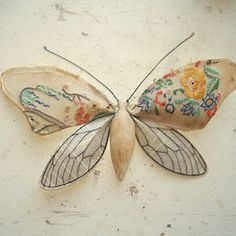 Mister Finch's incredibly lovely moths are made from vintage fabrics.