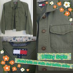 Tommy Hilfiger 'Tommy Jeans' Army Green Military Military Style army green button down jacket.  This must be more of a juniors fit, bought years ago and really only wore a handful of times.  Rare to find now~but in excellent condition and in line with the style of today!  Size I put is medium (would fit as a women's medium or large depending upon chest size and whether or not you want to be able to button up!) Tag reads XL (most likely in juniors). Feel free to ask questions if you have any…