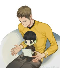 """""""It's time to go to bed,little man.""""""""Vulcan doesn't need to sleep such a long time like human.""""""""But you had read it for a whole day."""""""