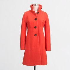 J.Crew Factory - Factory ruffle-collar dress coat.  My dream coat, it resembles the coat Audrey Hepburn wore in Breakfast At Tiffany's