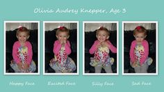 """Cute idea for Anna's 3rd bday pics - ask her to make all her """"faces"""" - happy, sad, excited, surprised, mad, etc."""