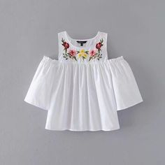 Sexy Cut Shoulder Floral Embroidery White Blouses Women