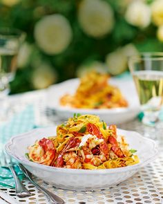 A true taste of Venice in a bowl – juicy prawns, lemon and chilli are tossed through tagliatelle for a prawn pasta dish that's easy on effort. Fish Recipes, Seafood Recipes, Pasta Recipes, Cooking Recipes, Healthy Recipes, Gnocchi Recipes, Wrap Recipes, Drink Recipes, Recipies