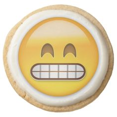 Grinning Face With Smiling Eyes Emoji Round Premium Shortbread Cookie