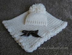 easy baby blanket and matching hat set- FREE crochet Patterns