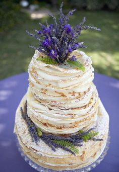 Crepe cake with lavender is whimsical