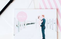 Modern and fun pink circle thank you cards with stripes from the Brklyn View Collection by Sincerely, Jackie and Brklyn View Photography