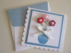 3x3 cards with envelopes Cute little vase of flowers  By:scrapstampandplay
